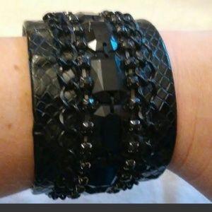 Black Rhinestone Bracelet w/Black Chain Faux Leath